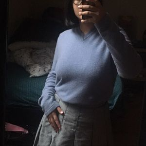Sweaters - Dusty Pastel Blue Cashmere V-Neck Sweater